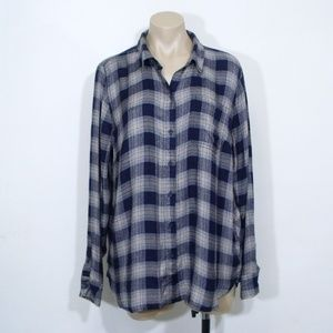 Lucky Brand Bungalow Plaid Shirt Vented Back
